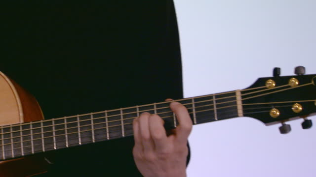 Person playing guitar, handheld