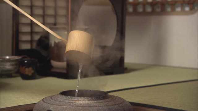 cu person pouring water during tea ceremony, tokyo, japan - mestolo video stock e b–roll