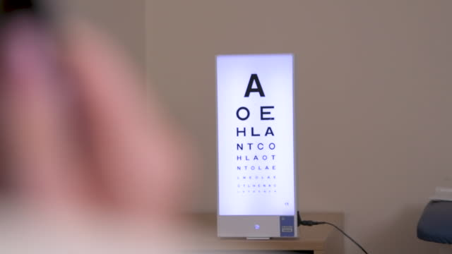person reading eye chart with one eye covered - type 1 diabetes stock videos & royalty-free footage