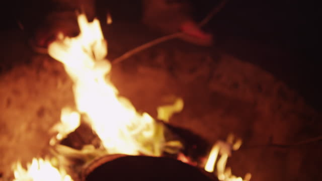 vídeos de stock, filmes e b-roll de person roasts marshmallow on summer night - fogueira fogo ao ar livre