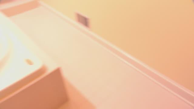 pov person searching empty bathroom - bagno domestico video stock e b–roll