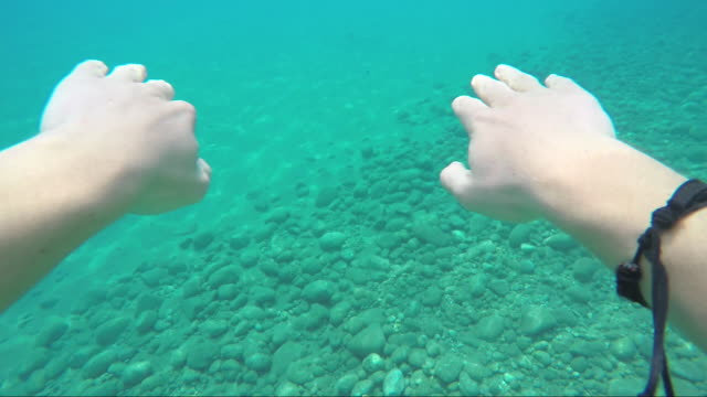 POV of person swimming through tranquil sea waters