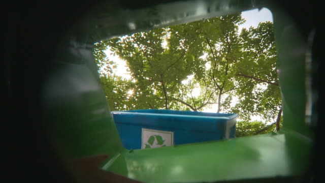 pov la ms person throwing garbage from recycling container into garbage bin, panama city, panama  - plastic container stock videos & royalty-free footage