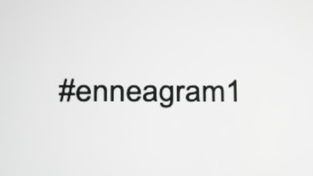 """vídeos de stock, filmes e b-roll de uma pessoa digita """"#enneagram"""" em sua tela de computador e, em seguida, ciclos através de cada um dos nove tipos - número 6"""
