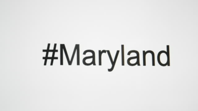 """a person types """"#maryland"""" on their computer screen and then follows with the state abbreviation - maryland us state stock videos & royalty-free footage"""