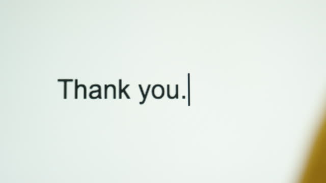 "a person types ""thank you"" on their computer screen - thank you stock videos and b-roll footage"