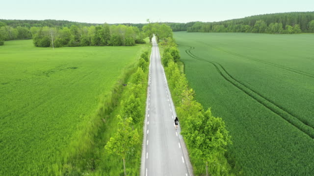 person walking along a long countryside road - long stock videos & royalty-free footage