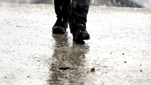 person walking in snow storm/step by step - retriever stock videos & royalty-free footage