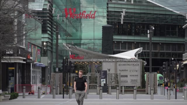 a person walks through a near deserted westfield shopping centre in stratford during the coronavirus outbreak - diary stock videos & royalty-free footage