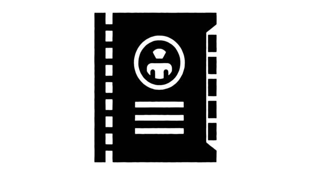 vídeos de stock e filmes b-roll de personal assistant line drawing & ink splatter reveal animation with alpha - agenda de telefones