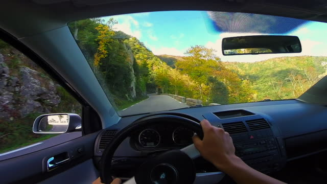 Personal perspective from car in the stunning forest with autumn colors in the Montseny mountain a beautiful huge land covered with trees and high mountains close to Barcelona city.