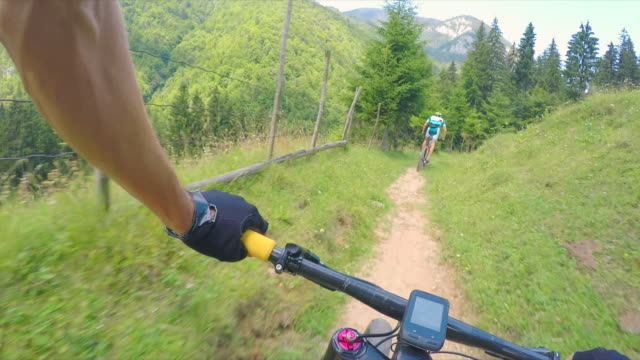 Personal perspective mountain bike riding.