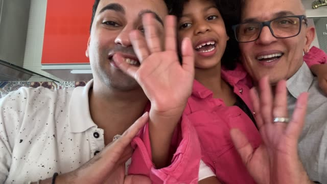 personal perspective of a family doing a video call / vlogging - foster care stock videos & royalty-free footage