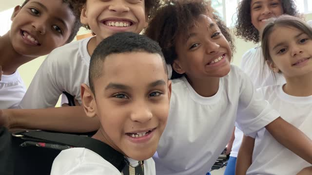 personal perspective of elementary students taking a selfie at school - multiracial group stock videos & royalty-free footage