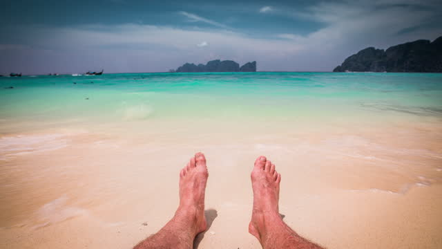 personal perspective of man's feet in clear turquoise water - human foot stock videos & royalty-free footage
