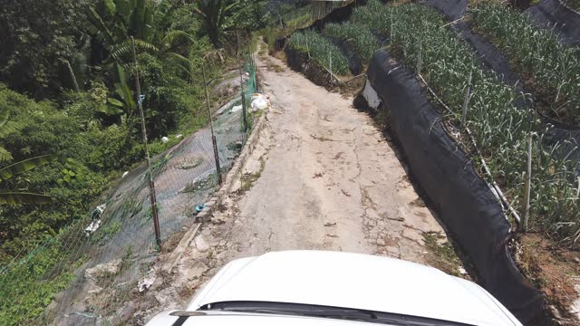 personal perspective point of view top of 4x4 downhill driving through dirt road cameron highland farm - bumpy stock videos & royalty-free footage