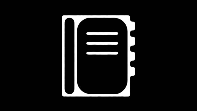vídeos de stock e filmes b-roll de personal planner blackboard line animation with alpha - agenda de telefones