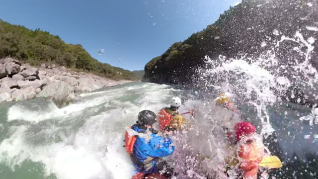 personal point of view of a white water river rafting excursion - river stock videos & royalty-free footage