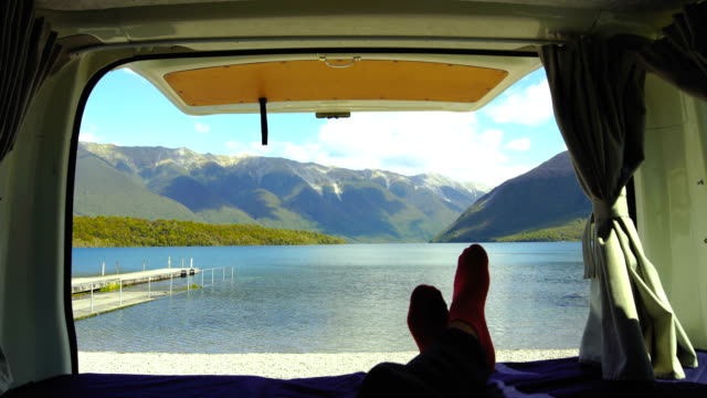 personal view of nelson lakes from van. - camper van stock videos and b-roll footage