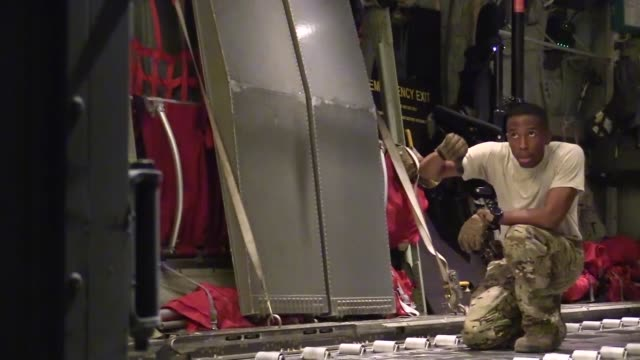 personnel from the 75th expeditionary airlift squadron and the 37th airlift squadron conduct c-130j super hercules cargo operations in east africa,... - horn of africa stock videos & royalty-free footage