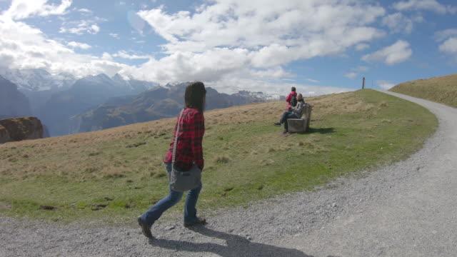 pov perspective following travellers through alpine meadow - meraviglie della natura video stock e b–roll