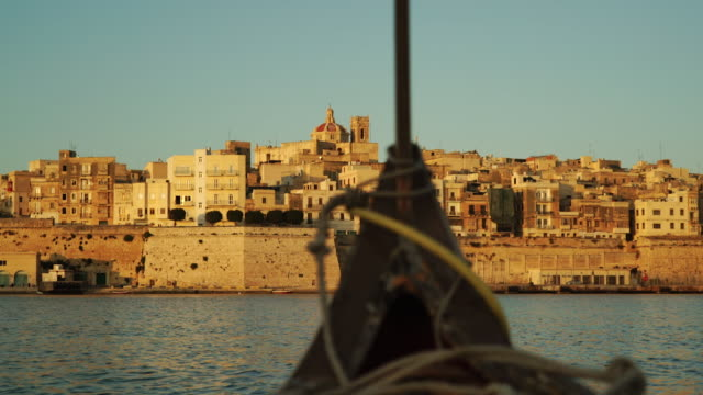 perspective from small boat off the coast of malta - valletta stock videos & royalty-free footage