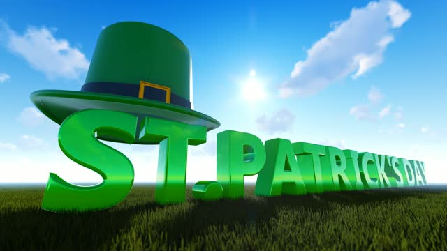 perspective view of abstract concept for st's patrick day with green hat - march month stock videos & royalty-free footage