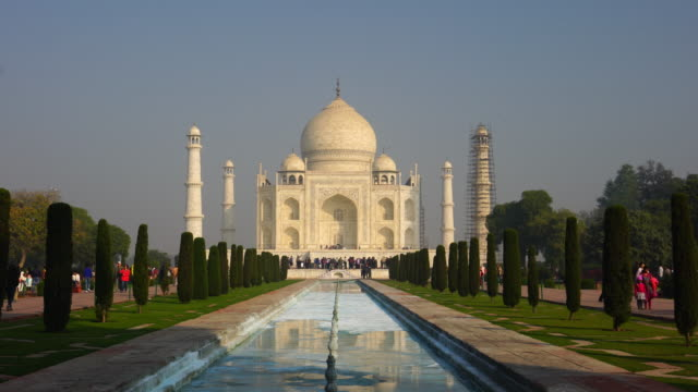 a perspective view on taj-mahal in india - famous place stock videos & royalty-free footage
