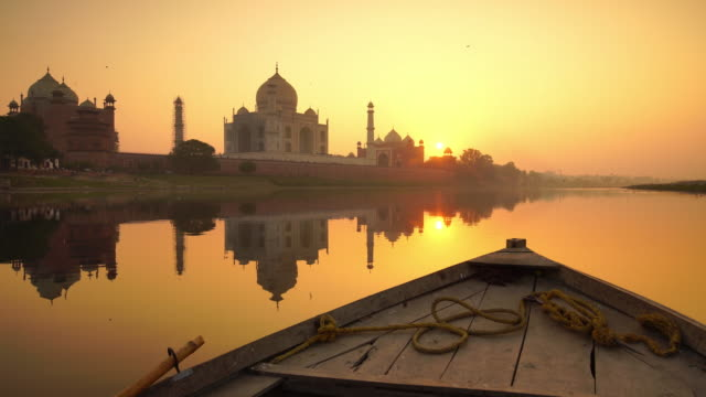 a perspective view on taj-mahal in india - tourist stock videos & royalty-free footage