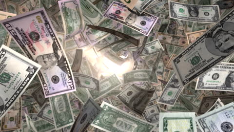 perspective view, through sunlight, of american money flying by (loop) - lottery stock videos & royalty-free footage