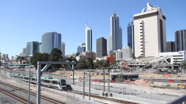 W/S Perth Cityscape Skyline Exterior with Trains passing in foreground
