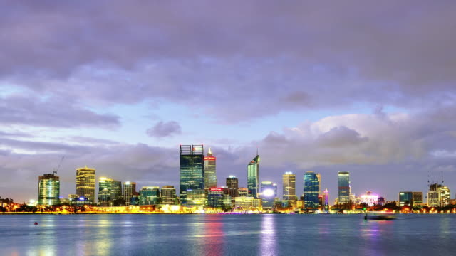 Perth Skyline Panoramic in Dramatic Sky, Western Australia, Day to Night, Panning