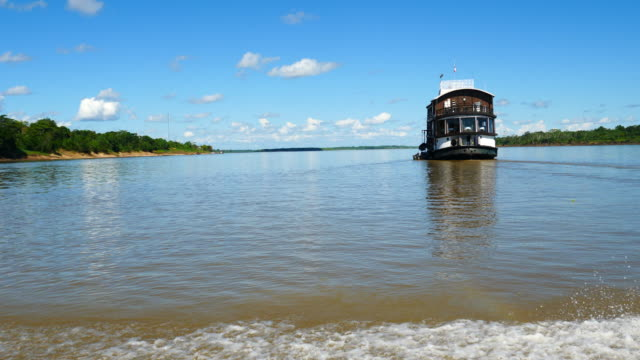 Peru, Amazon basin, approaching the La Amatista riverboat, Pacaya Samiria National Reserve