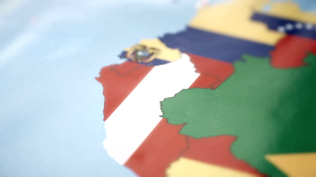 Peru Borders wiht National Flag on World Map