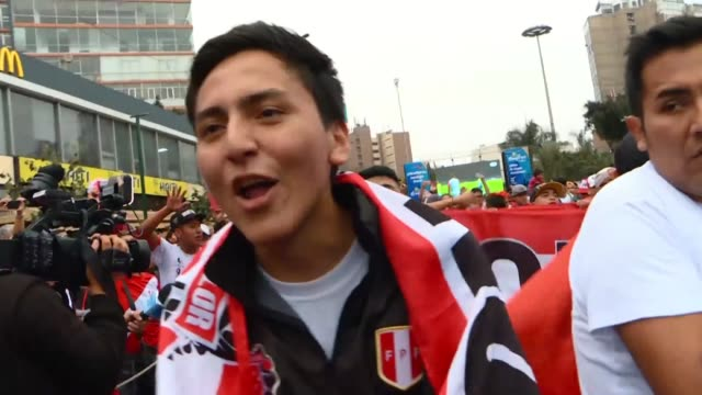 peru fans say they will always be present and accompany their national team until death after beating uruguay on penalty kicks in the copa america... - national team stock videos & royalty-free footage