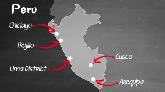 peru map - blackboard visual aid stock videos & royalty-free footage