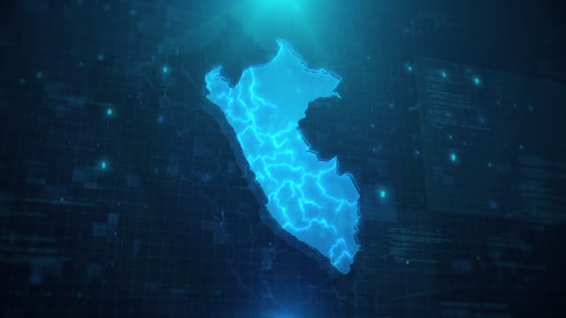 peru map with regions against blue animated background 4k uhd - peru stock videos & royalty-free footage