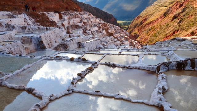 peru, maras salt ponds, the salt evaporation ponds – a closer look - 2017 stock videos & royalty-free footage