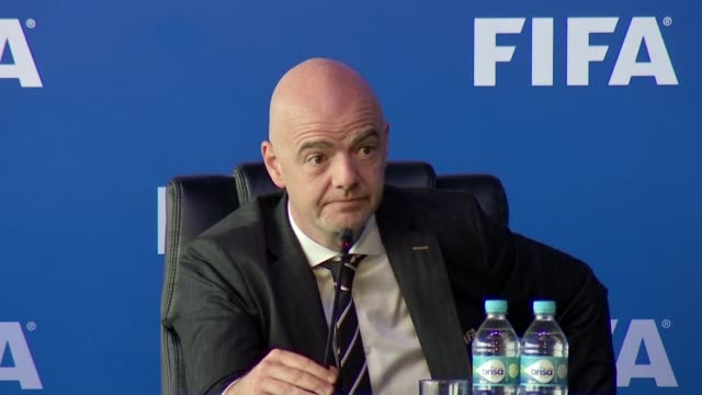 vídeos de stock, filmes e b-roll de peru will hold the u17 football world cup and poland the u20 world cup in 2019 fifa president gianni infantino said friday - gianni infantino