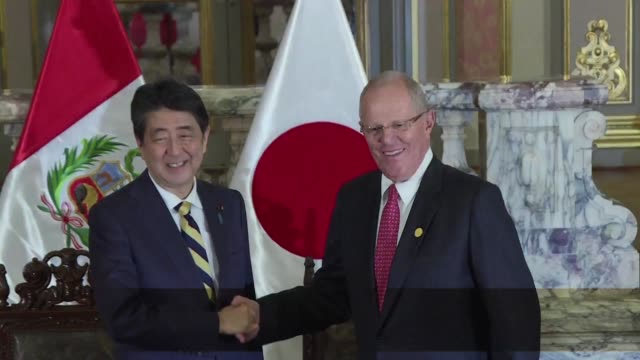 vídeos y material grabado en eventos de stock de peru y japon firmaron convenios de cooperacion en el marco de reuniones bilaterales al margen de la cumbre del apec - ee.uu