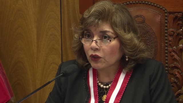 peru's interim attorney general zoraida avalos rivera who took over after the resignation of her predecessor pedro chavarry over investigations of... - generalstaatsanwalt stock-videos und b-roll-filmmaterial