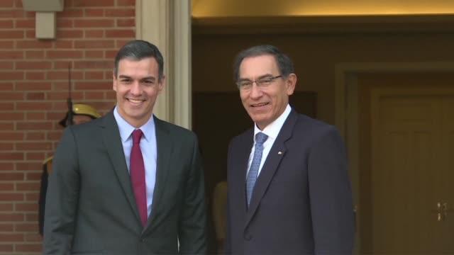peru's president martin vizcarra meets with spanish prime minister pedro sanchez at palacio de la moncloa during his three day visit to spain - martín vizcarra stock videos & royalty-free footage