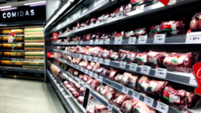 peruvian defocused supermarket meat shelfs - meat stock videos & royalty-free footage