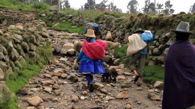 Peruvian farmers carry bundles along a rocky path.