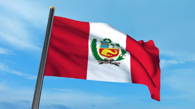 Peruvian flag waving (luma matte included so you can put your own background)