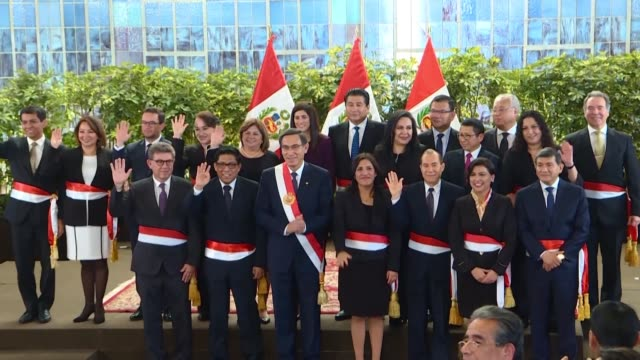 peruvian leader martin vizcarra swears in 19 new ministers including gustavo meza cuadra as foreign minister and vicente zeballos as prime minister - martín vizcarra stock videos & royalty-free footage