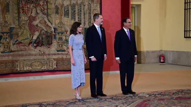 peruvian president host a reception for spanish royals on february 28, 2019 in madrid, spain. - マルティン・ビスカラ点の映像素材/bロール