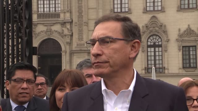 Peruvian President Martin Vizcarra sees of government ministers as they head to Congress for a confidence vote that could enable the head of state to...