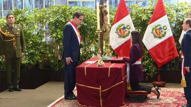 peruvian president martin vizcarra swears in 19 new ministers of which 8 are women - martín vizcarra stock videos & royalty-free footage