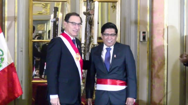 peruvian president martin vizcarra swears in vicente zeballos as new justice minister after a series of audio recordings sparked a growing scandal... - martín vizcarra stock videos & royalty-free footage